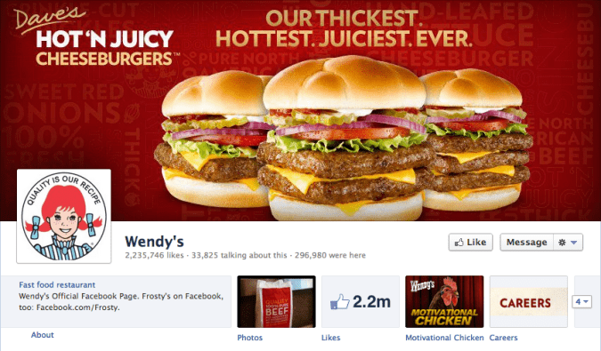 wendys facebook cover photo 675x395 23 Cool Examples of Facebook Page Cover Photos