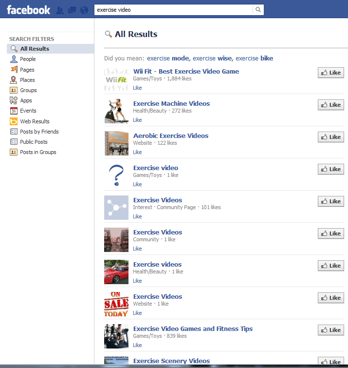 facebook search exercise video Facebook Search, a Goldmine?