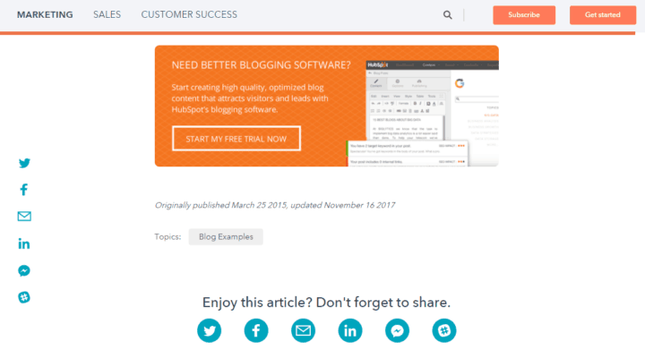 hubspot blog call to action