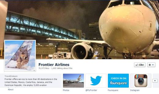 Frontier1 520x308 16 Great Airline Facebook Page Examples