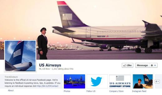Us airways1 520x305 16 Great Airline Facebook Page Examples