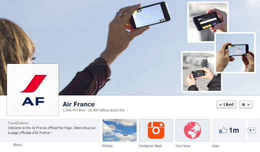 airfrance 520x304 16 Great Airline Facebook Page Examples