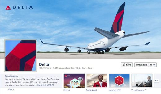 delta airways1 520x305 16 Great Airline Facebook Page Examples