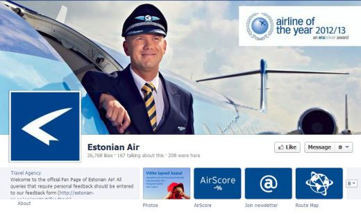 estonian air 520x308 16 Great Airline Facebook Page Examples