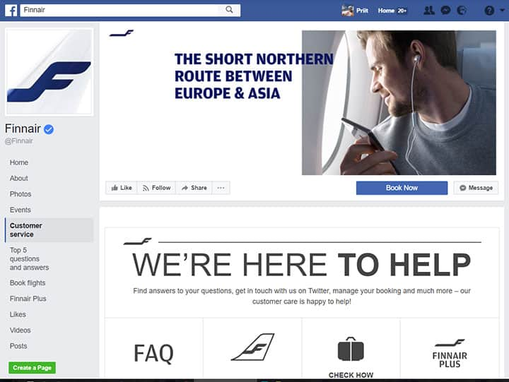 finnair facebook page