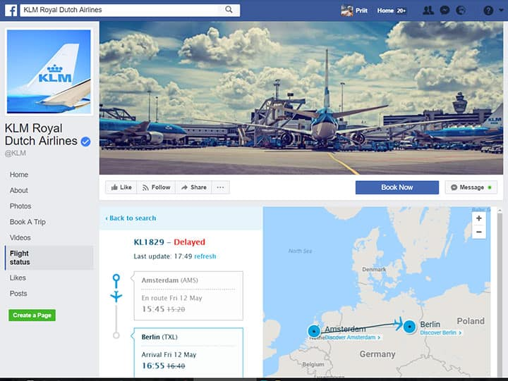 klm royal dutch airlines facebook page