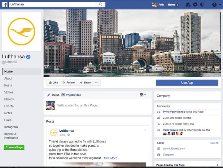lufthansa facebook page