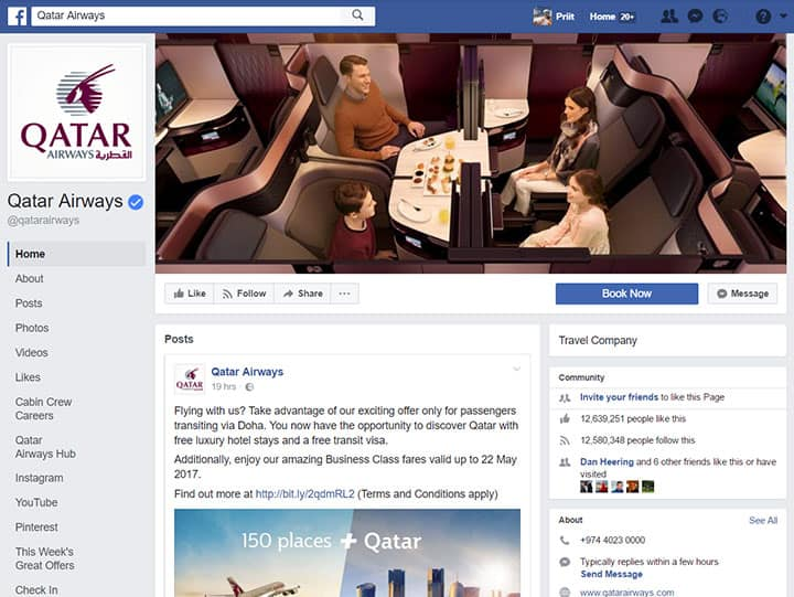 Qatar Airways facebook page