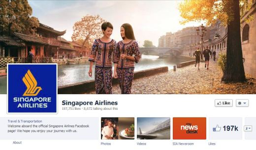 singapore airlines 520x306 16 Great Airline Facebook Page Examples