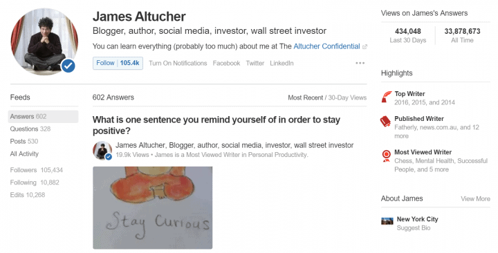 quora profile jamesaltucher content marketing