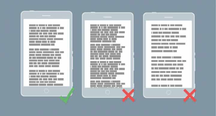 mobile paragraph rules