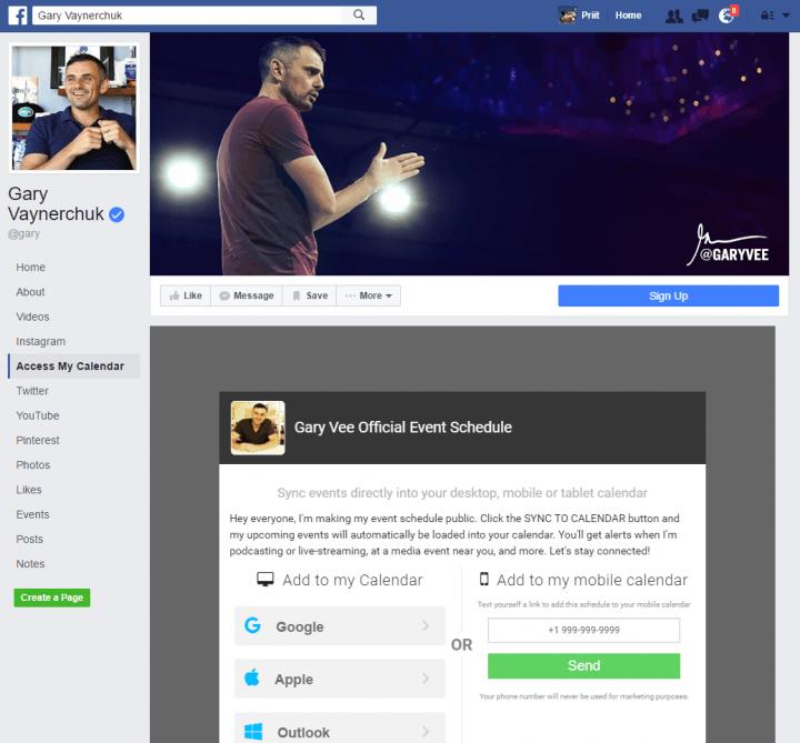 gary vaynerchuk event calendar facebook landing page