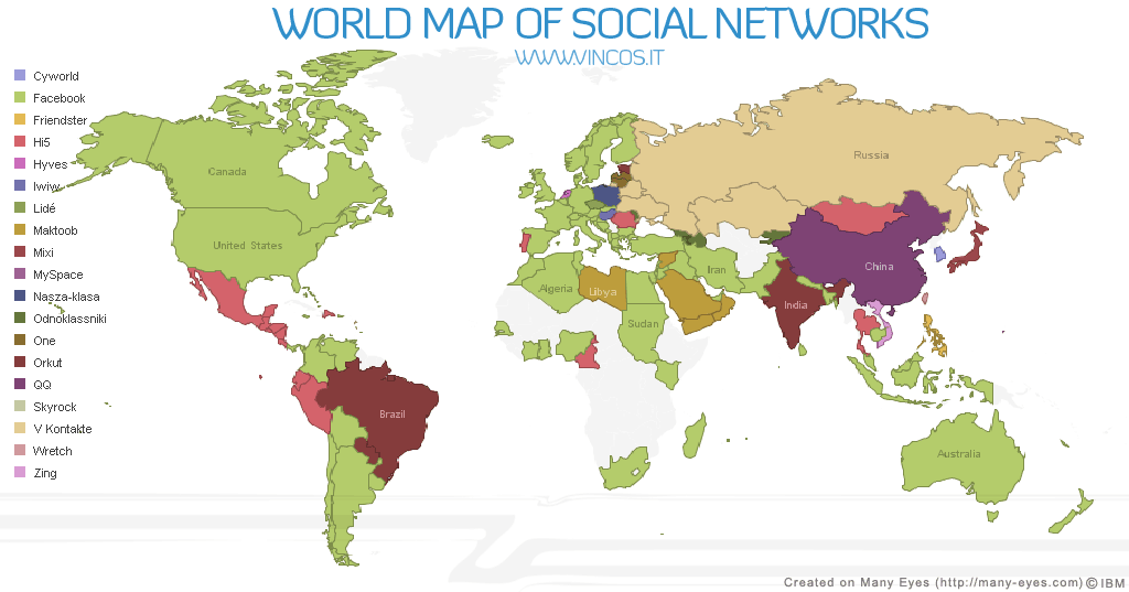 World map of social networks 2017 dreamgrow 2018 world map of social networks 2009 gumiabroncs Choice Image