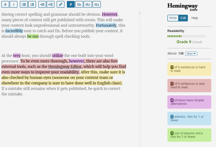 content writing tools hemingway app
