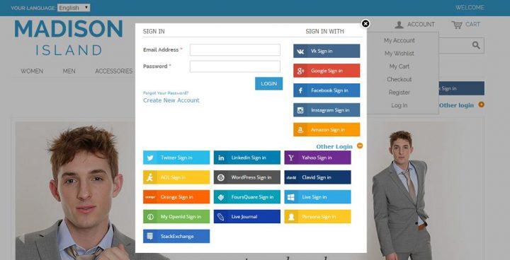 Magento Social Media Extensions social login