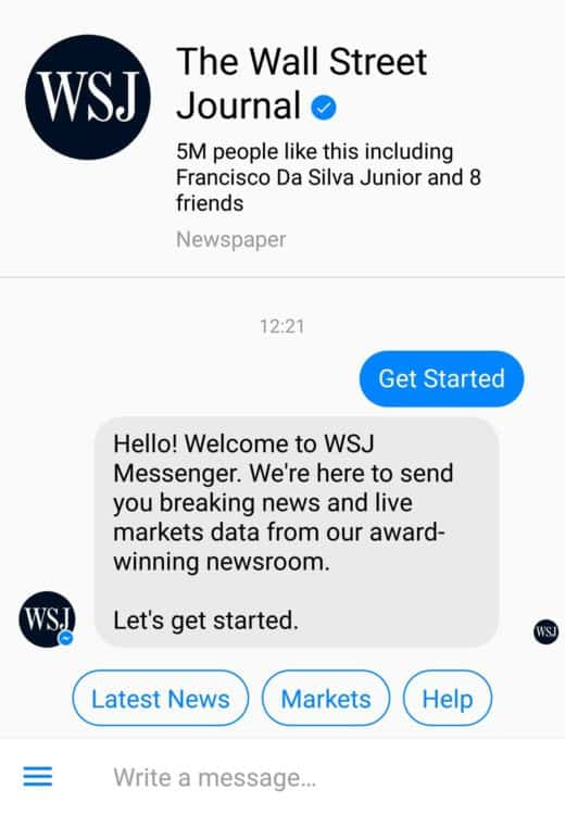 wall street journal messenger bot