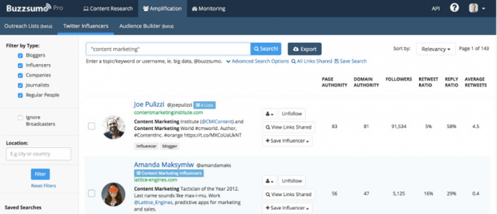 buzzsumo twitter influencers