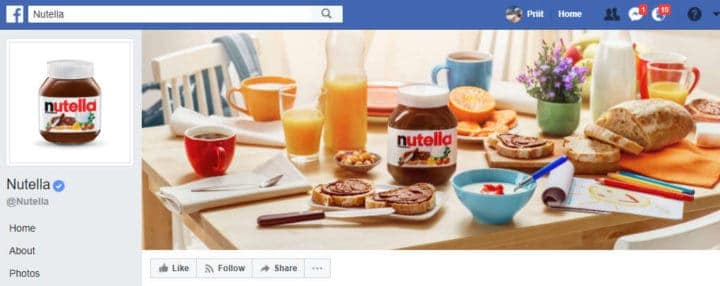 nutella facebook page design