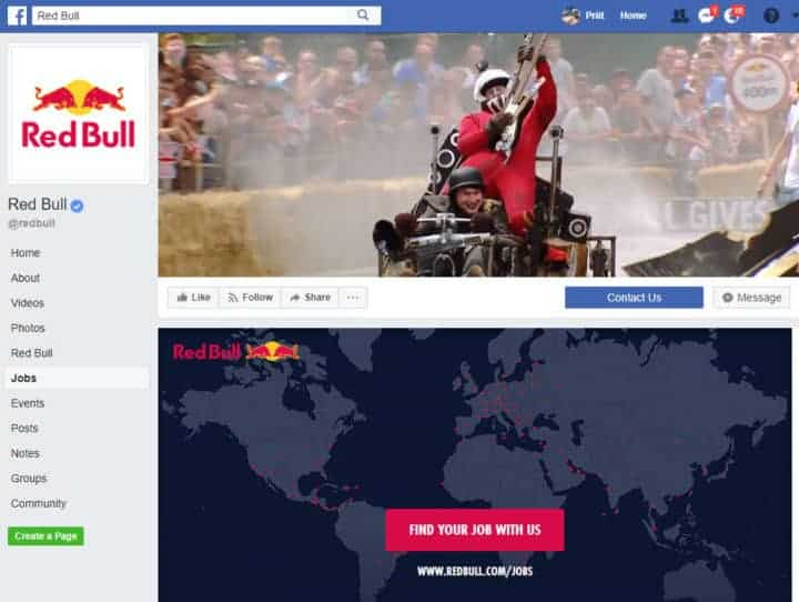 redbull facebook page
