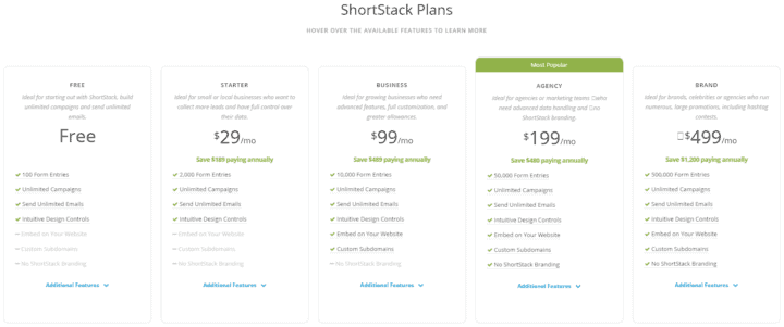 shortstack plans pricing