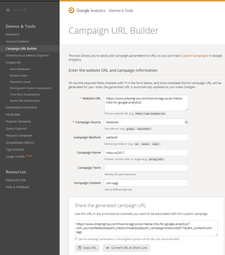 utm tags social media links google analytics