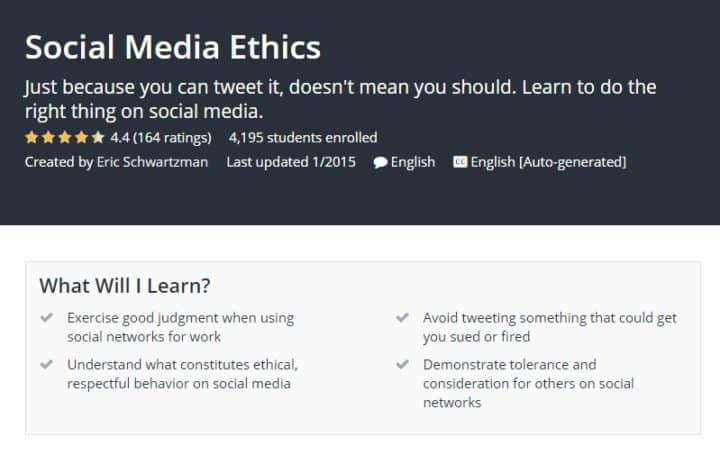 free social media marketing courses ethics