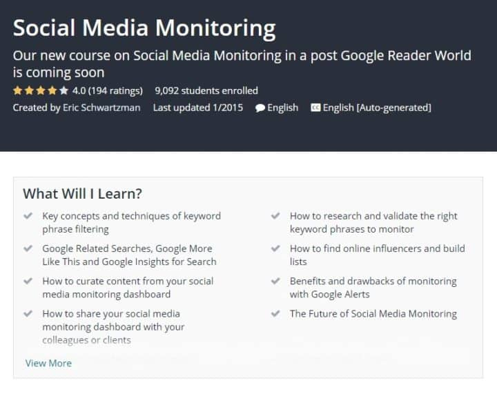 free social media marketing courses monitoring