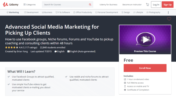 social media marketing course plan