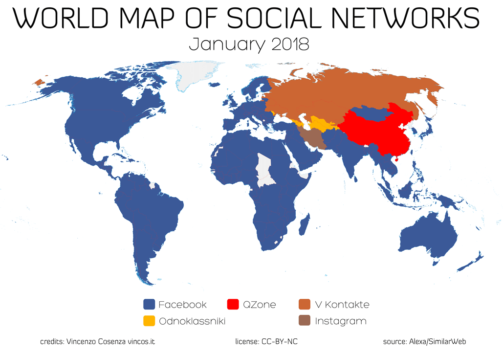 World Map of Social Networks 2018 - DreamGrow on