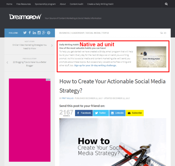 dreamgrow banner native ad