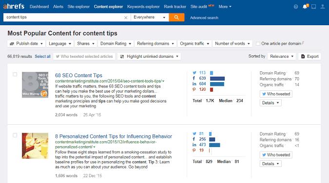 ahrefs content explorer seo tool