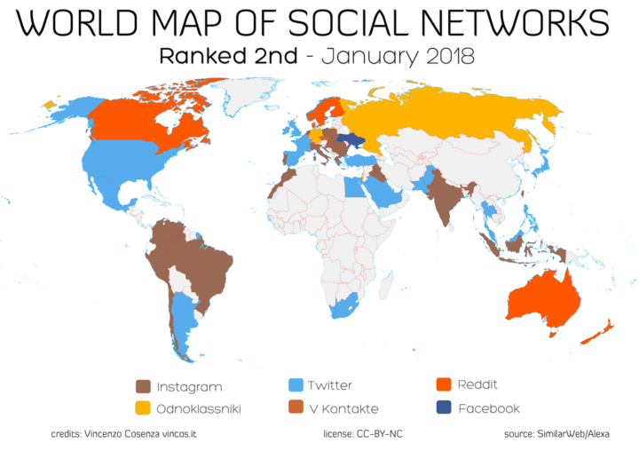 world map of social networks 2nd