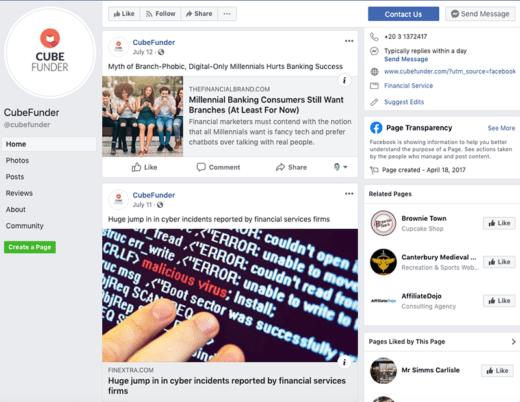 cubefunder facebook page