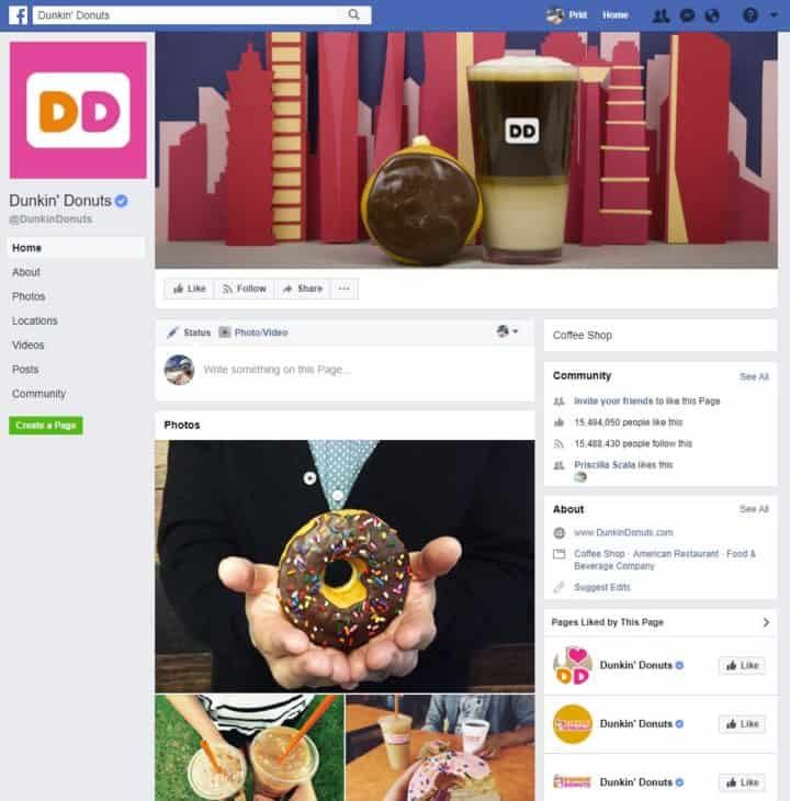 facebook page cover image dunkin donuts