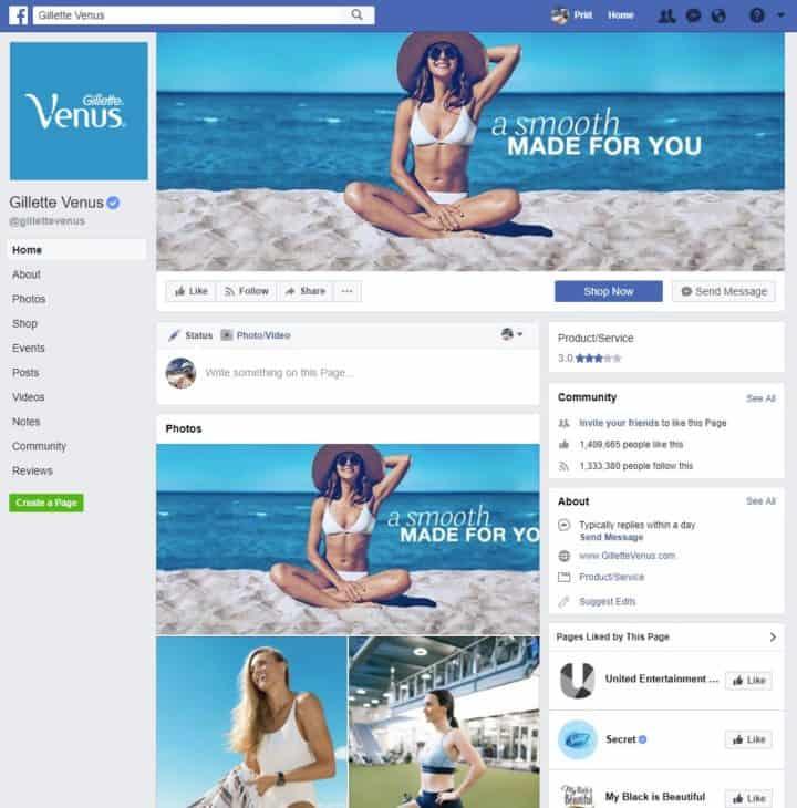 facebook page cover image gillette venus