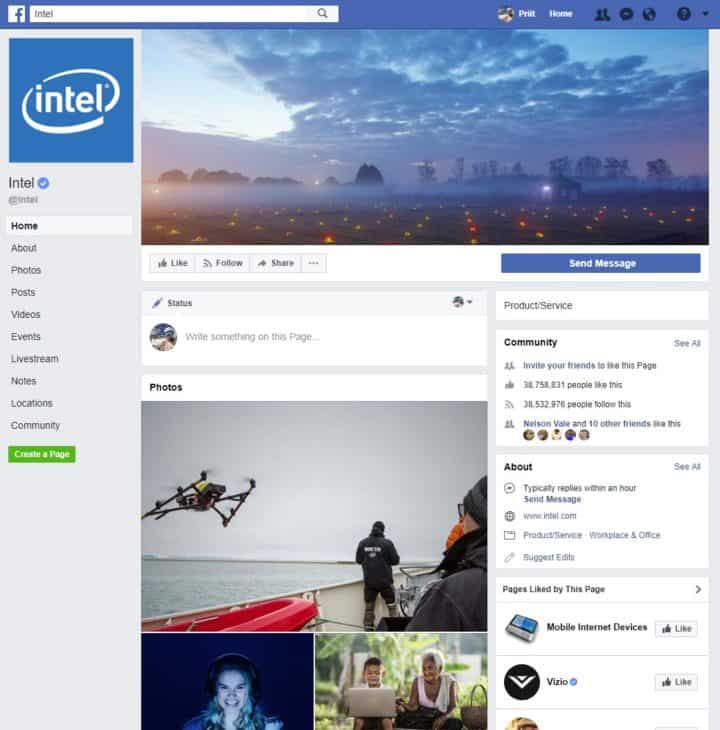 facebook page cover image intel