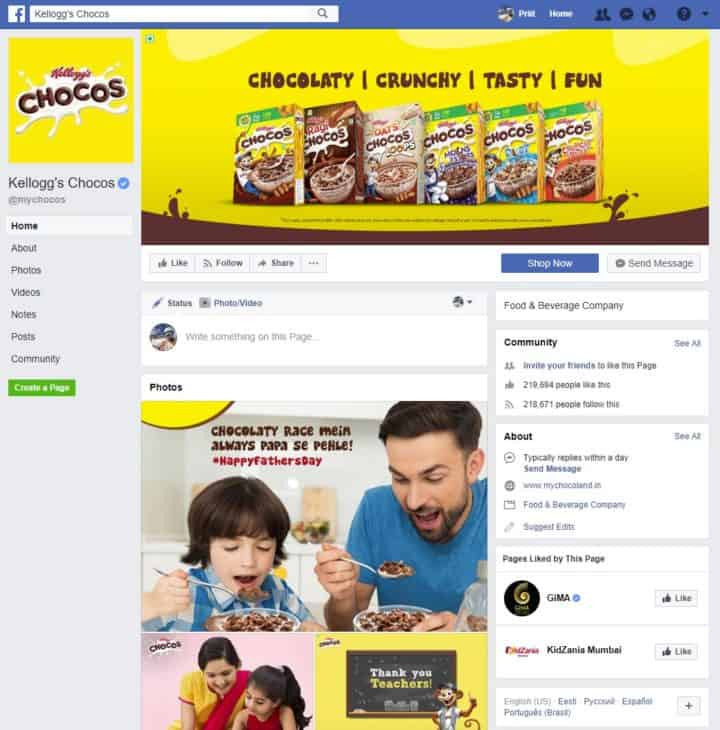 facebook page cover image kelloggs