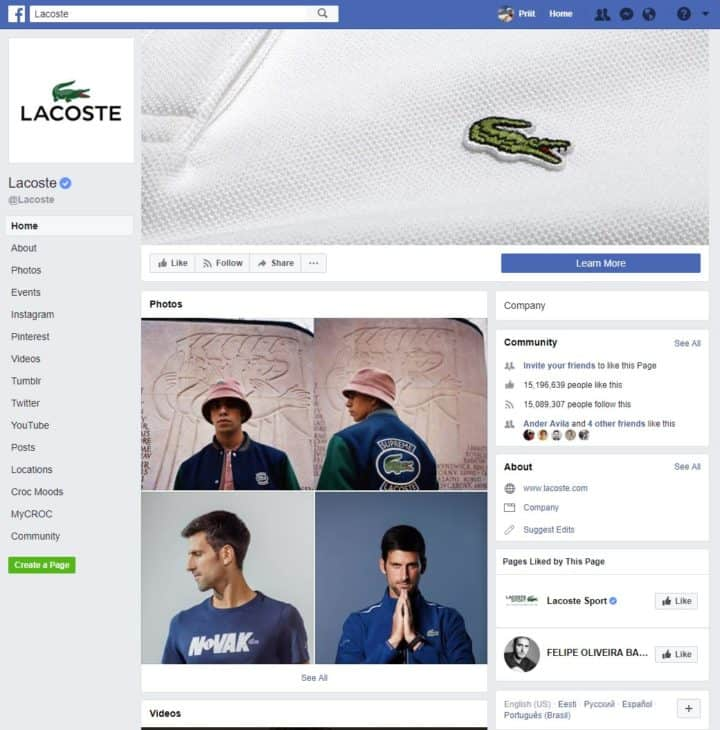 facebook page cover image lacoste