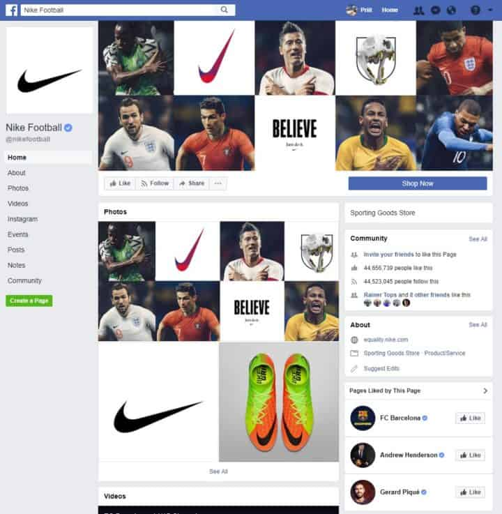 facebook page cover image nike football