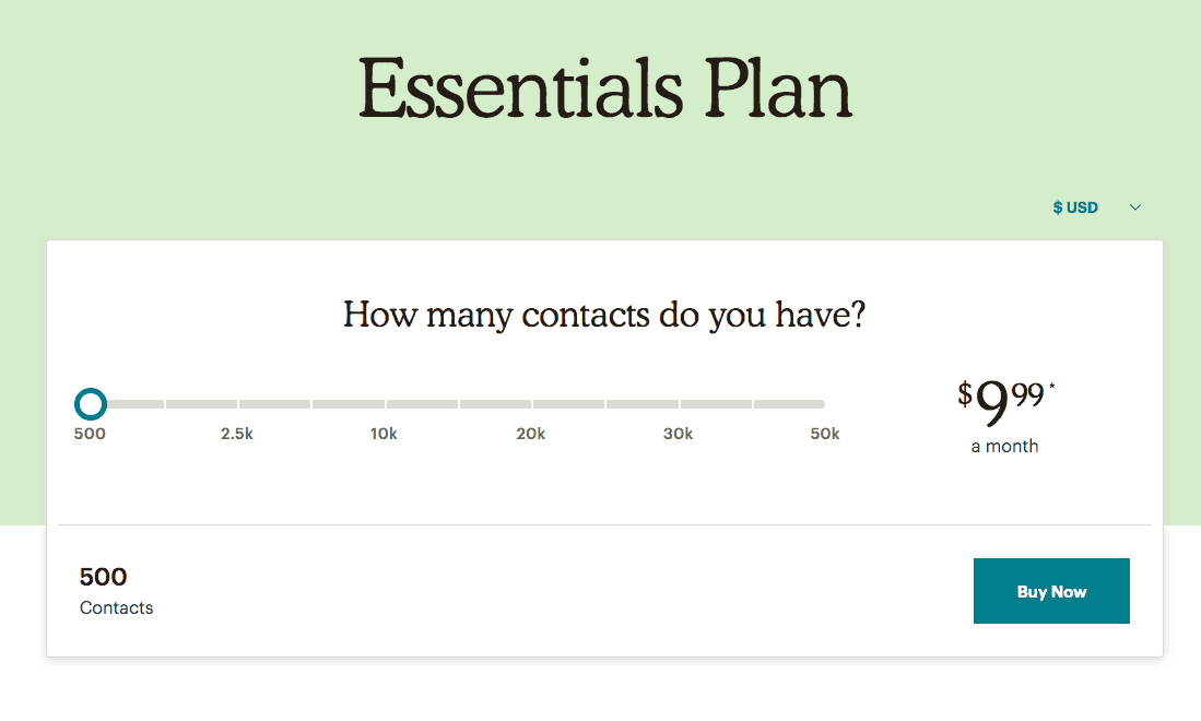 mailchimp essentials plan