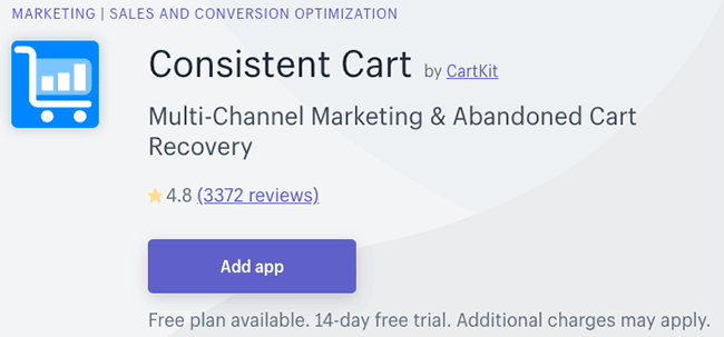 Best Cart Abandonment Apps - consistent cart
