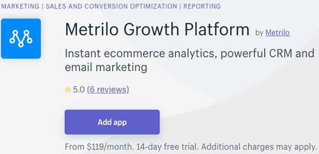 Best Shopify CRM App -Metrilo