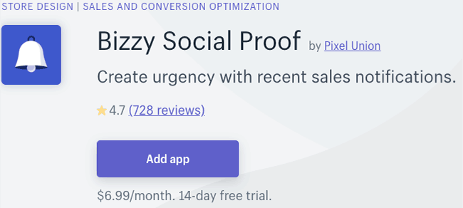 best cro apps - bizzy social proof
