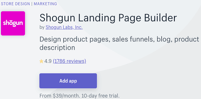 best cro apps - shogun landing page builder