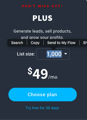 getresponse plus pricing plan
