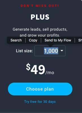 getresponse plus pricing plan