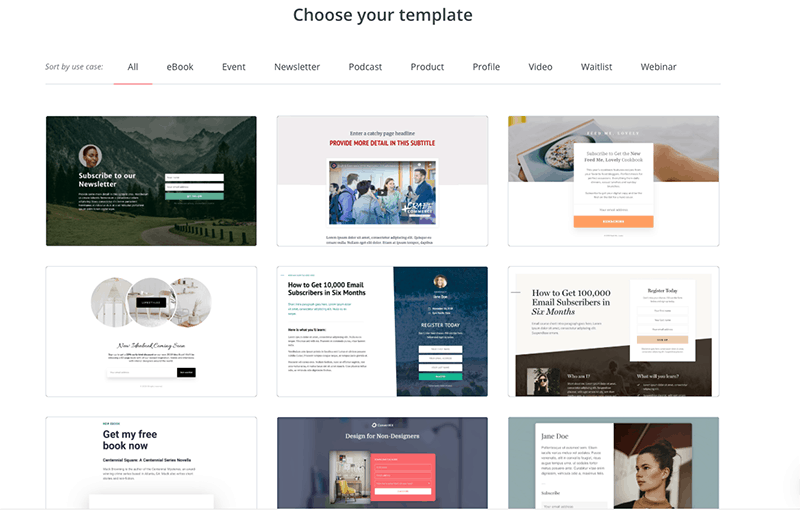 convertkit templates for forms and landing pages
