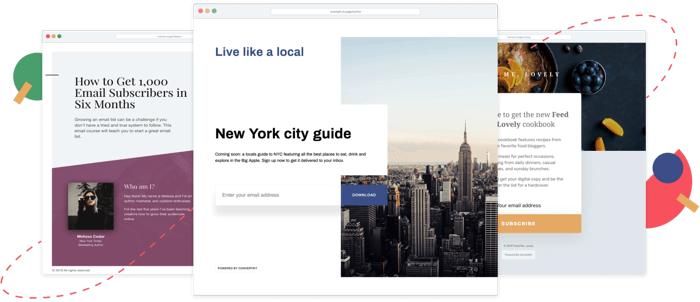 convertkit landing page builder templates
