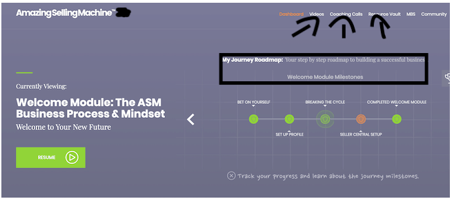 the ASM dashboard
