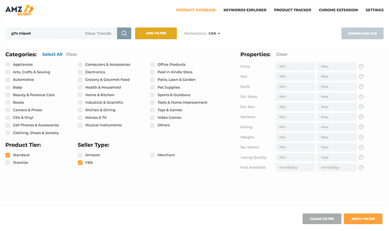 AMZScout Web App - Product Database and Product Tracker